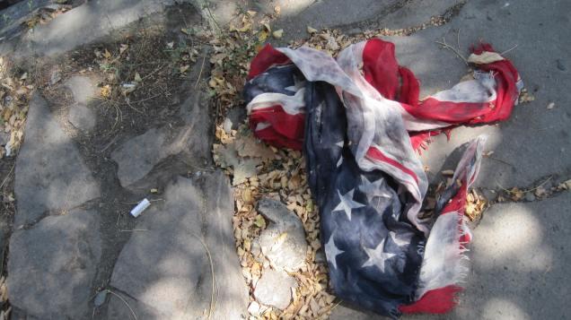 flag on the sidewalk